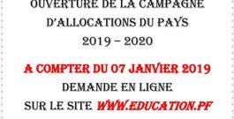 Ouverture de la campagne d'allocations du pays 2019- 2020 (Pour le supérieur uniquement)