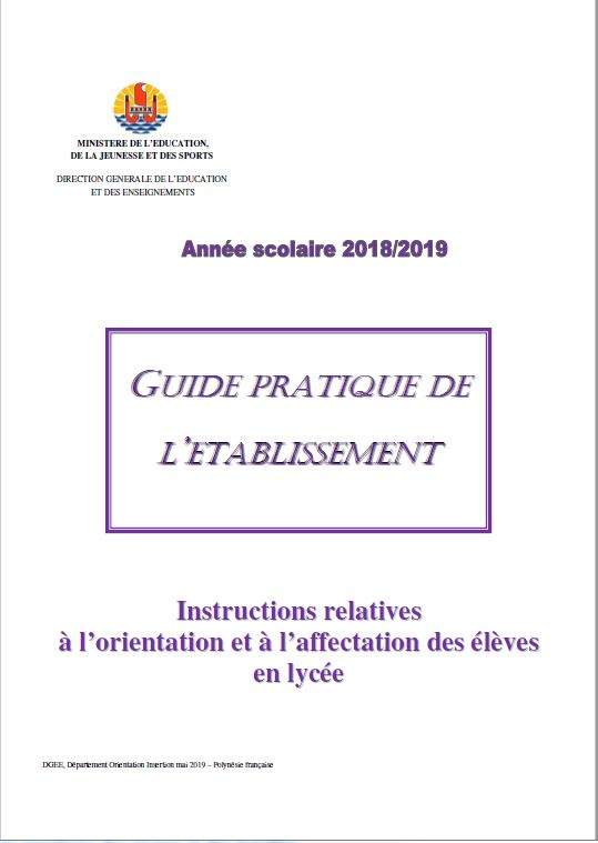 Guide pratique établissement: instructions relatives à l'orientation et à l'affectation 2018-2019