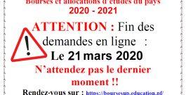 Bourses et allocations d'études du pays 2020-2021